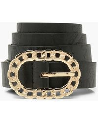 Boohoo Chain Effect Buckle Belt - Negro