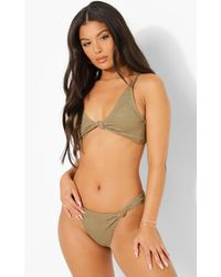Boohoo - Womens Crinkle Knot Front Mix And Match Bikini Top - Lyst