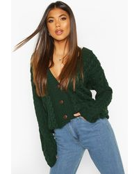 Boohoo Cable Knit Cardigan - Green
