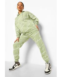 Boohoo Chándal Con Estampado Completo De Mujer - Verde