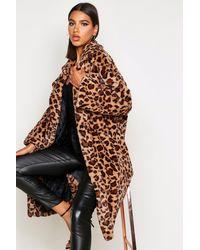Boohoo Womens Oversized Kunstpelz-Mantel In Leoparden-Optik - Braun