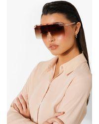 Boohoo Oversized Pink Framed Visor Sunglasses - Marrone