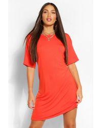 Boohoo Vestido Estilo Camiseta Liso Alta - Naranja