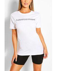 Boohoo Namastay Inside Slogan Tee - White