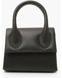Boohoo Structured Handle Detail Grab Bag With Strap - Black