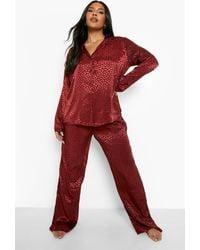 Boohoo Plus Leopard Jacquard Pyjama Trouser Set - Brown