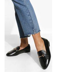 Boohoo Wide Width Croc T Bar Loafers - Black