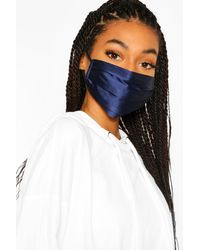 Boohoo Satin Pleated Fashion Face Mask - Blue