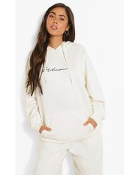 Boohoo Oversized Embroidered Woman Script Hoodie - Multicolore