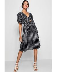 Boohoo - Knot Front Polka Dot Midi Dress - Lyst