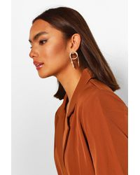 Boohoo Textured Snake Detail Earrings - Metallic