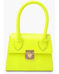 Boohoo Neon Micro Mini Structured Handle Grab Bag - Green