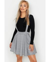 Boohoo Plus Dogtooth Flannel Pinafore Skirt - Black