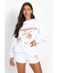Boohoo Embroidered Jumper Short Tracksuit - White