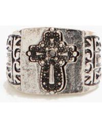 Boohoo Cross Deboss Signet Ring - Metallic