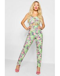 Boohoo - Palm Print Cut Out Front Jumpsuit - Lyst