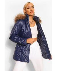 Boohoo Faux Fur Trim Hooded Quilted Puffer Coat - Blue