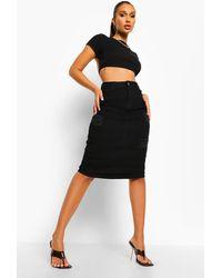 Boohoo Distressed Denim Midi Skirt - Black