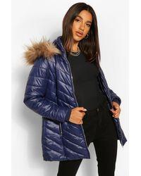 Boohoo High Shine Faux Fur Trim Longline Puffer Coat - Blue