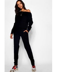 Boohoo Tall Slash Neck Knitted Lounge Set - Black