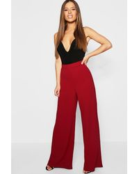 Boohoo Petite High Waisted Wide Leg Pants - Red