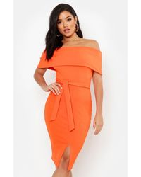 Boohoo Off The Shoulder Fold Over Split Midi Bodycon Dress - Orange