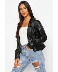 Boohoo Faux Leather Zip Moto Jacket - Black