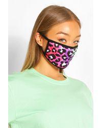 Boohoo Leopard Fashion Face Mask - Green
