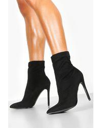 Boohoo Pointed Toe Stiletto Sock Boots - Black