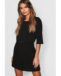 Boohoo Deep Plunge Studded Velvet Mini Dress in Black - Lyst 341a59798