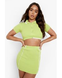 Boohoo Seam Detail Knitted Co-ord - Green