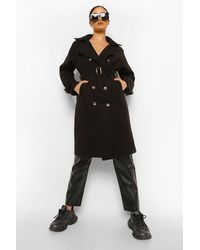 Boohoo Belted Wool Look Trench - Black