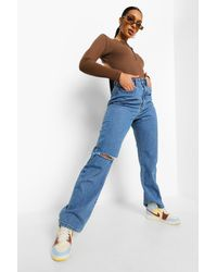 Boohoo High Waist Ripped Boyfriend Jeans - Blue