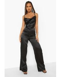 Boohoo Stripe Satin Tie Waist Wide Leg Trouser - Black