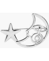 Boohoo Sofia Moon And Star Brooch - Metallic