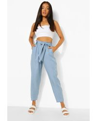 Boohoo Petite Belted Paperbag Chambray Trouser - Blue
