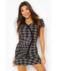 Boohoo - Puff Sleeve Check Dress With Contrast Edge - Lyst