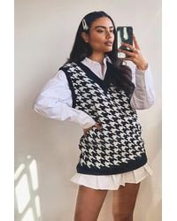 Boohoo Dogtooth Check Knitted Tank - Black
