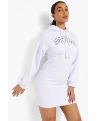 Boohoo Printed Corset Hoodie Dress - Blanco
