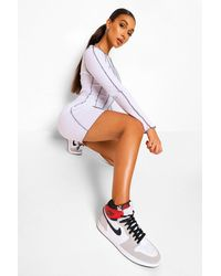 Boohoo Tall Overlock Stitch Detail Bodycon Dress - Bianco