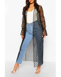 Boohoo Dobby Mesh Shirred Sleeve Maxi Kimono - Black