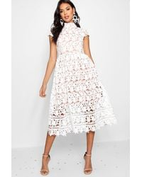 Boohoo Boutique Lace Midi Skater Bridesmaid Dress - White