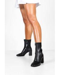 Boohoo Zip Front Block Heel Sock Boots - Black