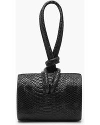 Boohoo Snake Mini Knot Handle Clutch Bag - Black