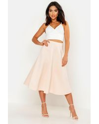 Boohoo Basic Plain Full Circle Midi Skirt - Natural