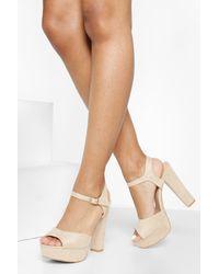 Boohoo Platform 2 Part Heels - Natural