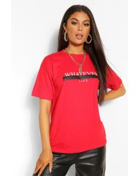 Boohoo Whatever Graphic T-shirt - Red