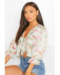 Boohoo SATIN FLORAL TIE FRONT BLOUSE - Verde