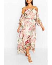 Boohoo Robe Longue À Volants En Tulle Imprimé Floral - Blanc