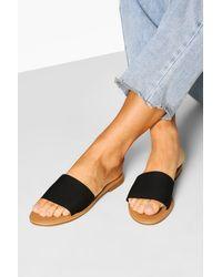 Boohoo Knitted Effect Slides - Black